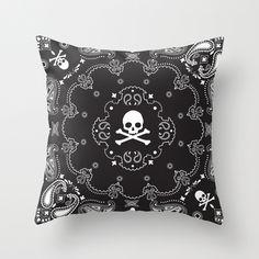 Skull Bandana Throw Pillow