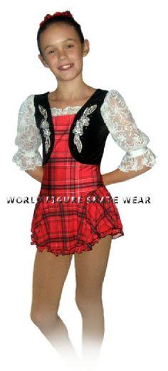 world figure skate wear scottish highland skating dress