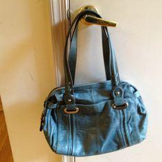 B. Makowsky shoulder handbag. PRICE BREAK! Teal,   a bit more green than blue soft leather handbag with generous outside pockets in front and back, 2 shoulder straps, zippered entrance at top of bag. Luxurious leather! B. Makowsky Bags