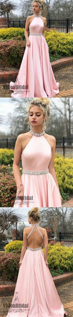 Pink Halter Sleeveless Open Back A-Line Long Prom Dress With Beaded, Beautiful Prom Dress, Prom Dresses, VB0373 #promdress #promdresses #longpromdresses