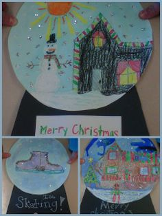 Snow globe art project - trying this next year with the salt and watercolors! Christmas Art Projects, Winter Art Projects, Cool Art Projects, Holiday Crafts, Thanksgiving Holiday, Class Projects, Globe Crafts, Kid Crafts, Globe Art