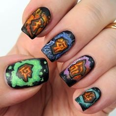 Diablo III Nails (Runes) - painted with acrylic paint