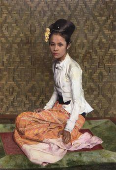 "Sir Gerald Kelly (1879-1972)"" Sao Ohn Nyunt "" Huile sur toile   collection privée"