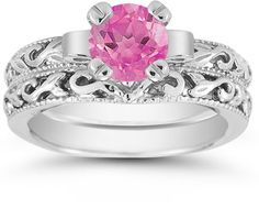 applesofgold.com - 1 Carat Pink Topaz Art Deco Bridal Ring Set, 14K White Gold http://applesofgold.com/1-Carat-Pink-Topaz-Art-Deco-Bridal-Ring-Set--14K-White-Gold-EGR3900PTWSET.html