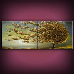 Art abstract original painting metallic gold retro mid by mattsart, $399.00