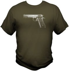 Original US Army ITHACA  1911 Pistol WWII / WWI T Shirt  trigger safety grips #Handmade #GraphicTee #Ithaca #1911 #wwii #pistol #45 #guncrazy