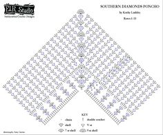 Southern Diamonds Poncho Stitch Diagram Right-Handed by ELK Studio
