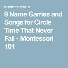 9 Name Games and Songs for Circle Time That Never Fail - Montessori 101 Preschool Names, Preschool Music, Preschool Curriculum, Preschool Classroom, Kindergarten Classroom, Classroom Activities, Montessori Preschool, Future Classroom, Preschool Ideas