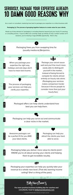 10 damn good reasons why to package your expertise. Grouping together your services is an easy way to provide extra value to your clients.