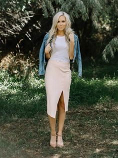 Blush Suede Pencil Skirt