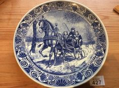 """Large Delfts Blauw Plate Charger Made In Holland Horse Carriage 11.3"""" Diameter"""