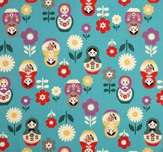 blue big babushka fabric matryoshka dolls Kokka