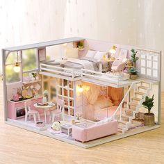 DIY Miniature Dollhouse Kit Dolls House With Furniture & Music Box & LED Lights Wooden Miniature Dollhouse furniture DIY Kit-Voice Control/Pink For Christamas Miniature Dollhouse Furniture, Dollhouse Toys, Wooden Dollhouse, Miniature Houses, Dollhouse Miniatures, Dollhouse Interiors, Dollhouse Ideas, Diy Kit, Diy Casa