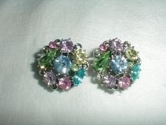 lisner earrings colored crystals vintage by qualityvintagejewels, $38.00