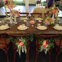 Oatlands Historic House & Gardens- Outdoor tented wedding reception; Loudoun County, VA; Florals by Bergerons; Farm tables from Capital Party Rentals; Place settings by Occasions Catering- Gorgeous!