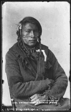 Omukoatassim, Tsuu T'ina/Sarcee, near Calgary, AB, about 1885. Copy by Mathers, Edmonton, NWT.  (Saskatchewan Archives)