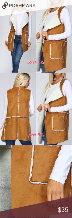 Boho suede vests Vintage style long faux suede vest with side pockets and oversized lapels 95%polyester 5%viscose. Fur Lining 100%polyester. Price is firm! S(2/4) M(6/8) L(10/12) Boutique Jackets & Coats Vests