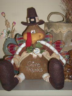 Primitive Raggedy GIVE THANKS Turkey  DOLL Shelf Sitter Whimsical Vintage on Etsy, $39.95