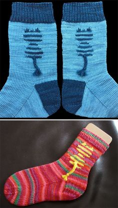Free Knitting Pattern for Papageno Kitty Socks - Cuff-down socks with an intarsi. Free Knitting Pattern for Papageno Kitty Socks - Cuff-down socks with an intarsia striped cat. Use self-striping yarn to. Baby Knitting Patterns, Baby Patterns, Crochet Patterns, Knitting Socks, Free Knitting, Knit Socks, Design Textile, Diy Couture, Patterned Socks
