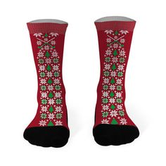 Field Hockey Printed Mid Calf Socks Christmas Sweater Pattern with Field Hockey Sticks