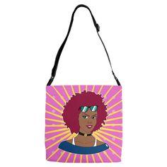 Burgundy Afro Diva Pink Starburst Adjustable Strap Tote. Burgundy Afro Diva Pink Starburst Adjustable Strap Tote