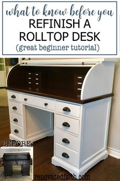 Tip 2 is great! The hardest part of a rolltop desk makeover is painting the tambour (the accordian-like part). Here's what to do & what NOT to do when repurposing a roll top desk - This DIY tutorial includes paint ideas, before and after photos, & how to add more drawers for organization, These desks refinished for your office or as a refurbished statement piece in your living room. White Washed Furniture, Distressed Furniture, Farmhouse Furniture, Repurposed Furniture, Rustic Furniture, Family Furniture, Glazing Furniture, Furniture Refinishing, Diy Furniture Projects