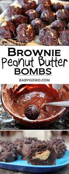 How to Make Brownie Peanut Butter Bombs #chocolate #dessert #peanutbutter Peanut Butter Bombs, Dessert Chocolate, Chocolate Smoothies, Chocolate Mouse, Chocolate Chocolate, Chocolate Drizzle, Chocolate Roulade, Chocolate Shakeology, Chocolate Frosting