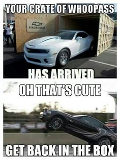 Yup but Chevy drivers need someone to stand outside the crate to warn you when you're are too close to the sides of the crate.since your view is compromised by your roofline. Mustang Humor, Ford Humor, Ford Jokes, Mustang Cars, Ford Mustangs, Mustang Quotes, Chevy Memes, Truck Memes, Funny Car Memes
