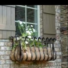 Wrought iron planter boxes for my windows.