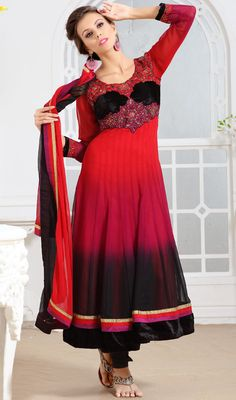 Black and Red Shaded Georgette Anarkali Suit Price: Usa Dollar $188, British UK Pound £110, Euro138, Canada CA$203 , Indian Rs10152.