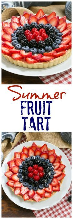 Summer Fruit Tart | Pastry crust with whipped cream and cream cheese filling topped with glorious summer berries /lizzydo/