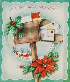 Vintage Mailbox Full of Christmas Cards Greeting Card Christmas Mail, Christmas Card Images, Vintage Christmas Photos, Holiday Images, Christmas Messages, Retro Christmas, Vintage Holiday, Christmas Greeting Cards, Christmas Greetings