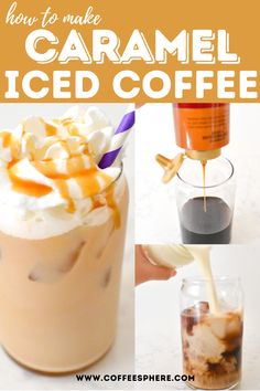 This caramel iced coffee recipe is super simple to make. No need to think in the morning to start your day with a delicious cup of coffee. Thai Iced Coffee, Iced Coffee Drinks, Coffee Drink Recipes, Iced Coffee With Keurig, Coffee Mix, Easy Coffee, Starbucks Drinks, Caramel Iced Coffee Recipe, Homemade Iced Coffee