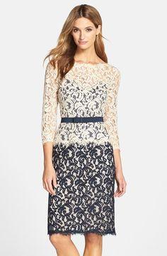 Tadashi Shoji Two-Tone Lace Sheath Dress (Regular & Petite) available at #Nordstrom.  Sooo pretty!!