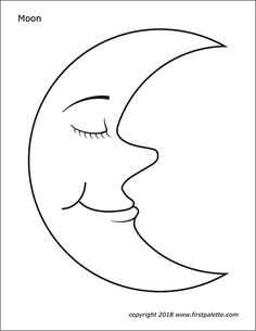 Free printable moon coloring pages as well as a colored moon picture to use for crafts and various learning activities. Planet Coloring Pages, Moon Coloring Pages, Coloring Pages For Kids, Free Coloring, Fairy Coloring, Kids Coloring, Star Template Printable, Moon For Kids, Christmas Ornament Coloring Page