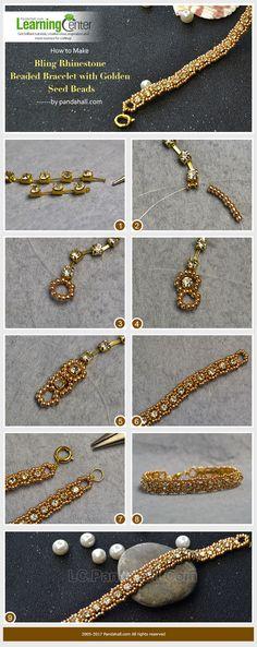 #Beebeecraft shows u how to make bling #Rhinestone #Beaded #Bracelet with Golden #SeedBeads