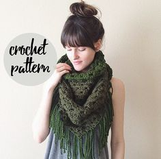 Crochet Pattern for Triangle Scarf, Blanket Fringe Shawl Scarf / Easy Beginner…