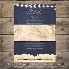 Rustic Chic Floral Wedding Invitation, String Lights Wedding Invitation by Soumya's Invitations