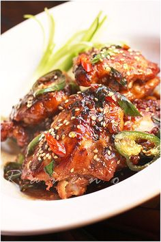 caramelized chicken with brown sugar and garlic.  *This is a winner!  Tons of flavor - sweet and spicy!  So, so good!