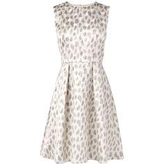 L.K. Bennett Asilah Embellished Silk Jacquard Dress ($300) ❤ liked on Polyvore featuring dresses, vestidos, short dresses, robes, white summer dresses, white cocktail dresses, fit and flare cocktail dress and summer dresses