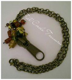 "Boho upcycled zipper necklace, antiqued, Hippie, Zipper, Lampwork beads, 21"" Boho antiqued gold Lampwork bead & upcycled zipper necklace"