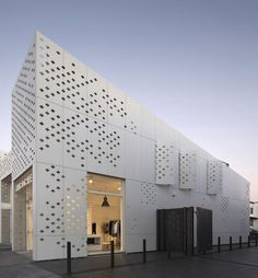Perforated facade detail. EQUITONE facade materials. Retail project by RTA architects, Auckland. www.equitone.com: