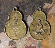 Brass Finish Pewter Metal Quan Yin Buddha Charms Pendants Gourd Shape New (2). $1.00, via Etsy.