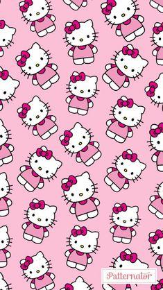 Walpaper Hello Kitty, Hello Kitty Iphone Wallpaper, Hello Kitty Backgrounds, Sanrio Wallpaper, Cute Backgrounds, Pink Wallpaper, Kawaii Wallpaper, Pattern Wallpaper, Hello Kitty Coloring