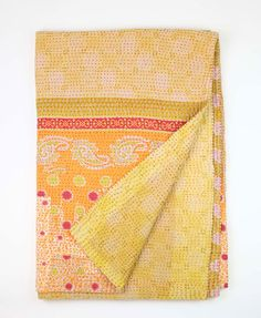 Handmade one-of-a-kind Anchal Project kantha Throw Quilt