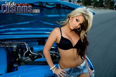 Socal Customs model Brittany Coppola and a blue Chevy Chevy Girl, Chevy S10, Chevy Trucks, Peugeot, Volkswagen, Assurance Auto, Lowered Trucks, Ford, Collector Cars