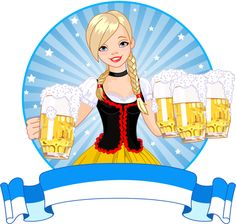Girl with beer oktoberfest vector material 07