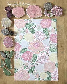 Instagram photo by bymamalaterre - Blossom #bymamalaterre #handcarved #floralstamp #eraserstamp #handprinted #handcarved