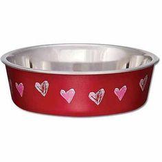Loving Pets Bella Expressions Medium Hearts Bowl, Valentine Red