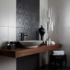 Black Brocade Feature Tiles